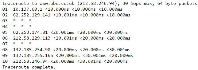 Superhub 2 traceroute to BBC