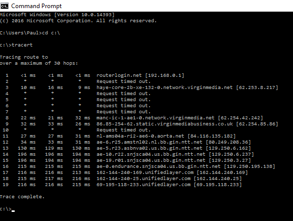 Tracert with destination blanked