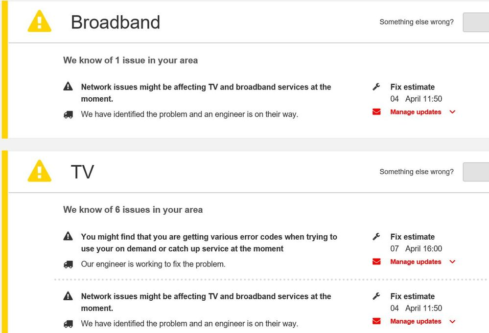 20170404 Broadband and TV ticket resolution dates continue to be shifted to the right.