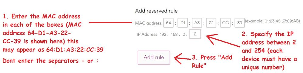 Adding your computers MAC address into the Super Hub 3 Routers DHCP Reservations table