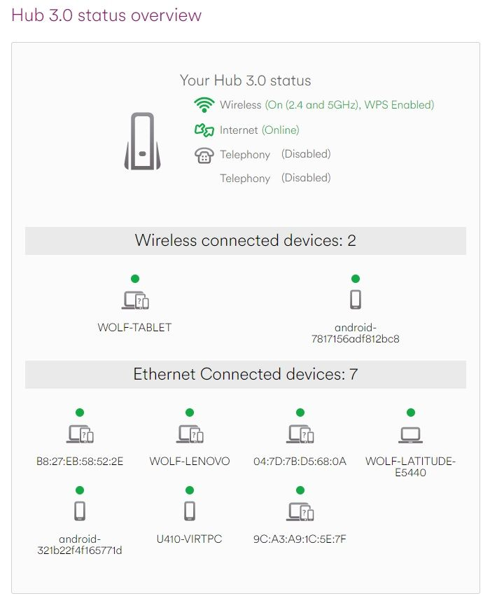 Super Hub 3 Status overview showing multiple connected LAN Ethernet and Wireless Devices