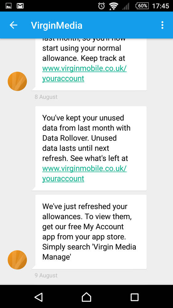 text showing data rollover