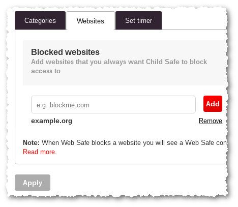 Web Safe - Blocked Websites