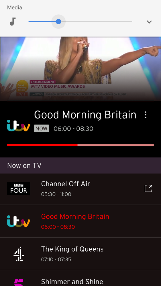 Virgin TV app Info bar at bottom of screen - Virgin Media