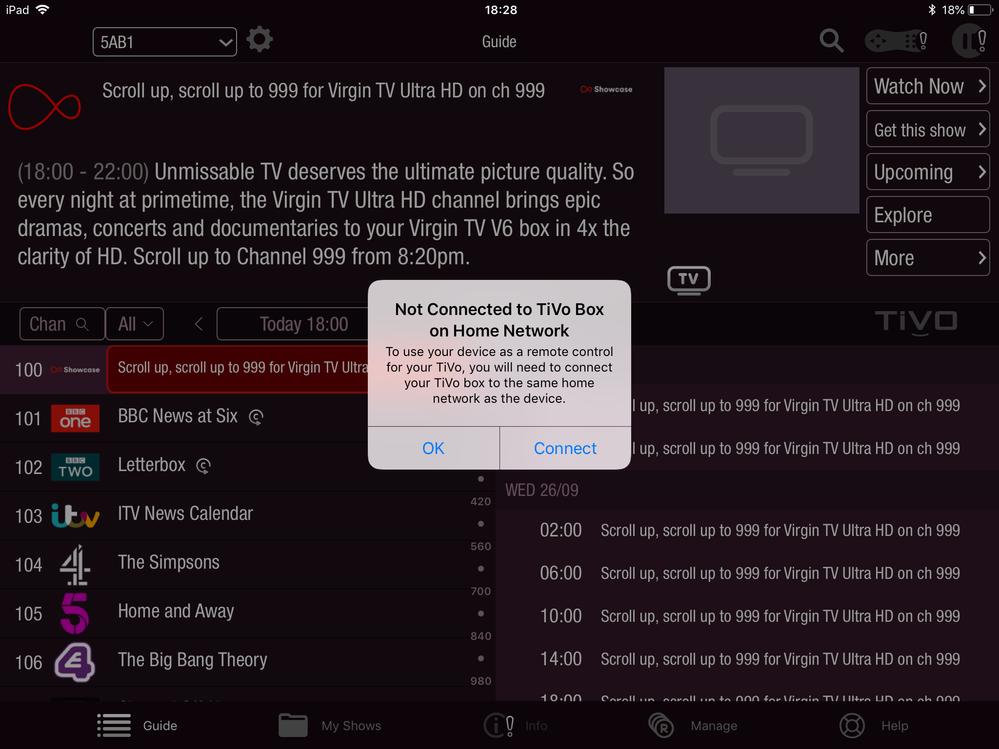 App not connecting to TiVo box - Virgin Media Community - 3836946