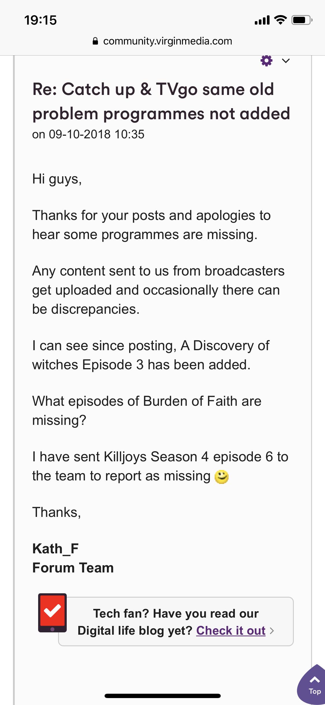 Missing episodes - Virgin Media Community - 3879875