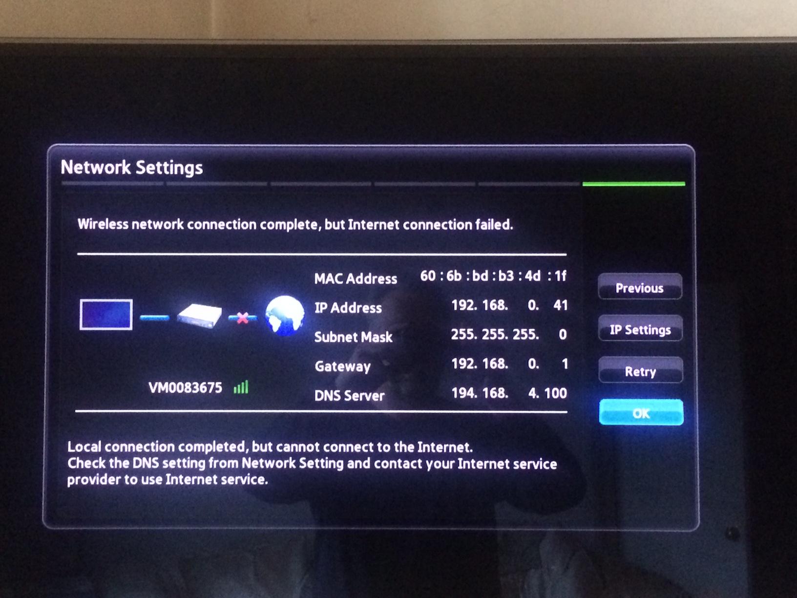 Virgin Media Ip Address >> Solved Samsung Ue40d6500 Tv Virgin Hub Wifi Ok But No