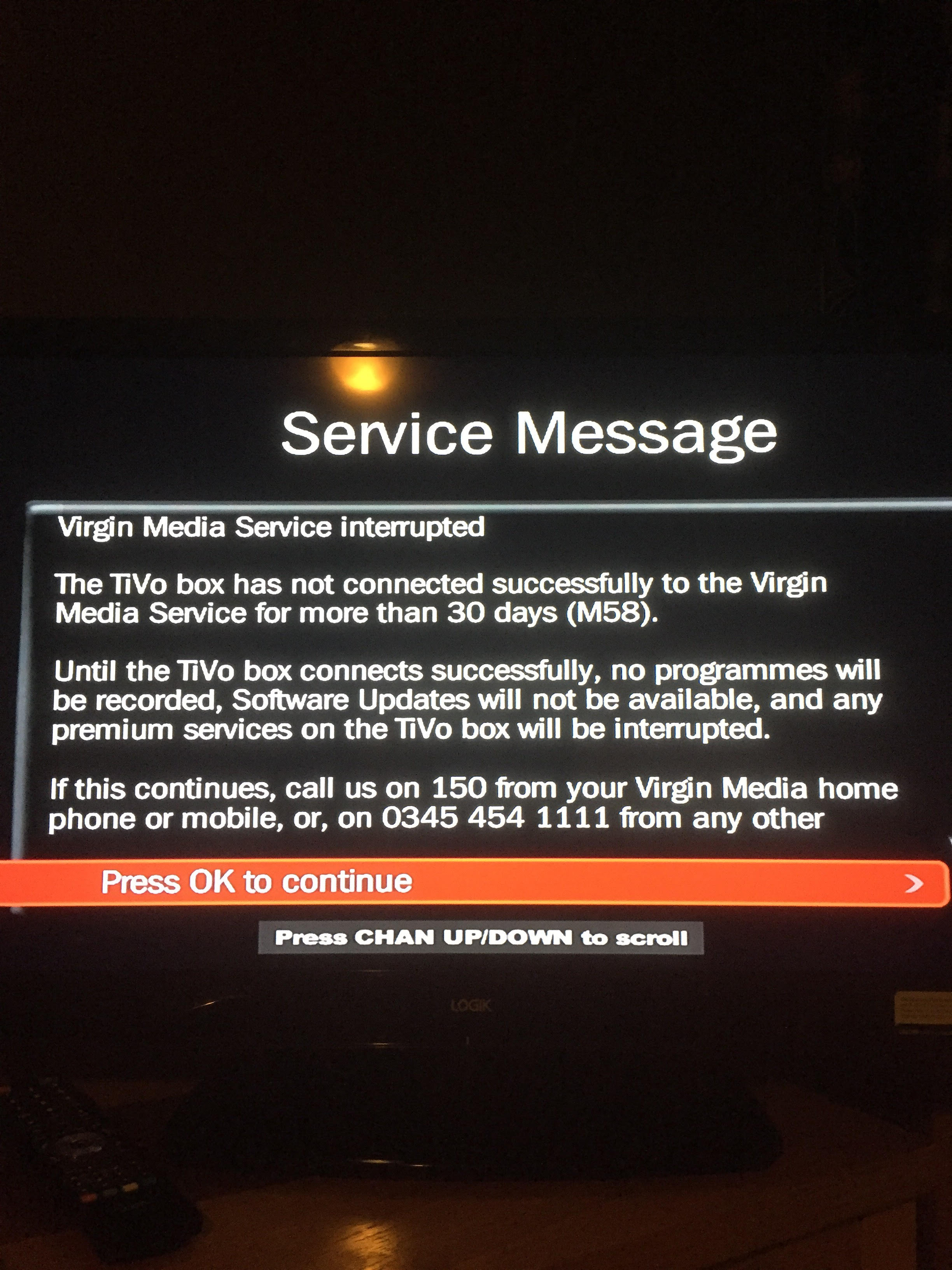 Solved: C130 Error Message - Virgin Media Community - 3581701