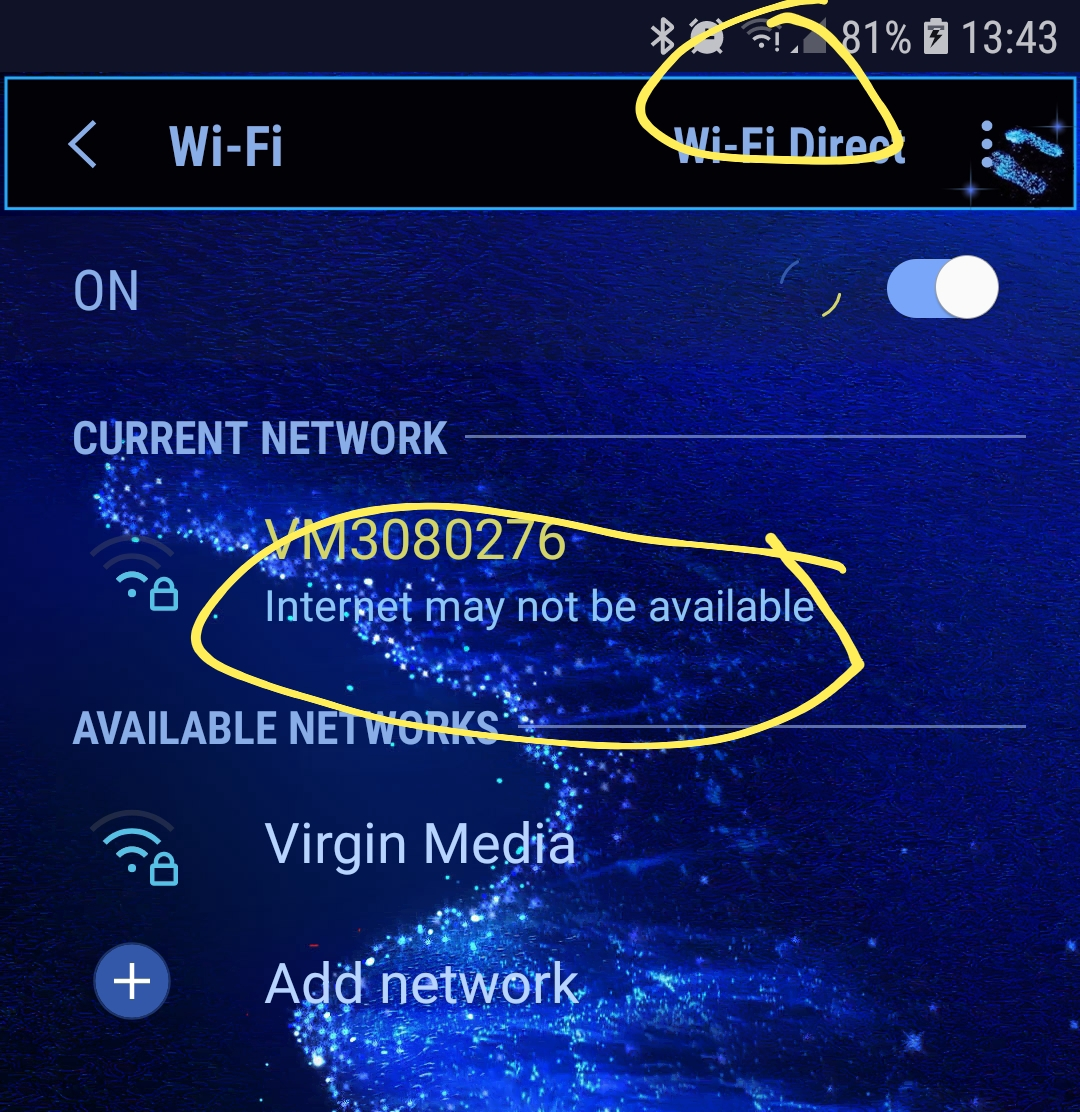 Solved: Wifi connection on samsung s7 - Virgin Media