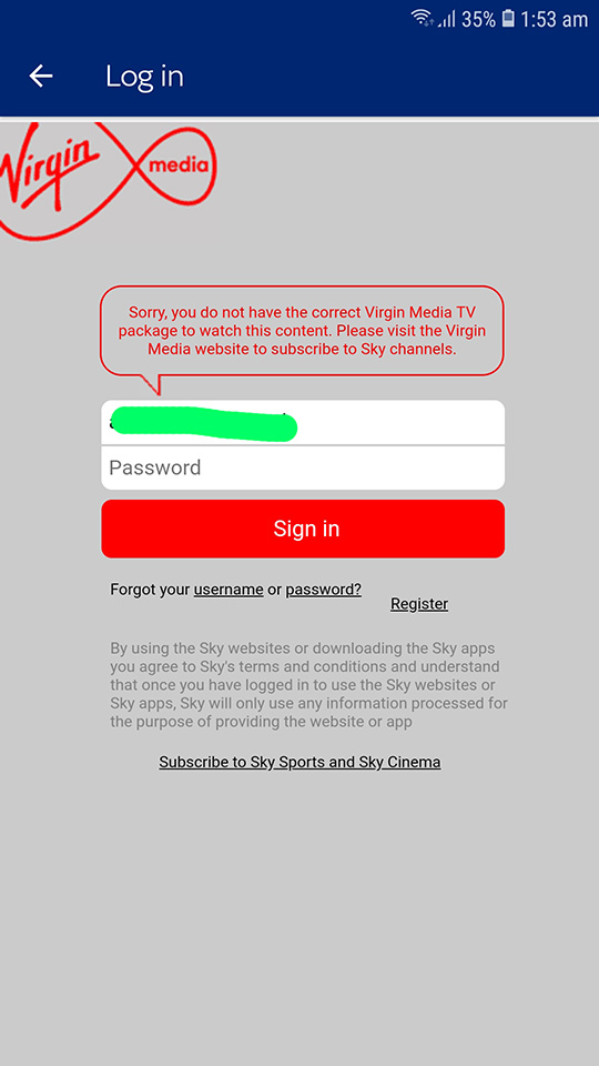 Solved: Can't sign into Sky Sports app - Virgin Media