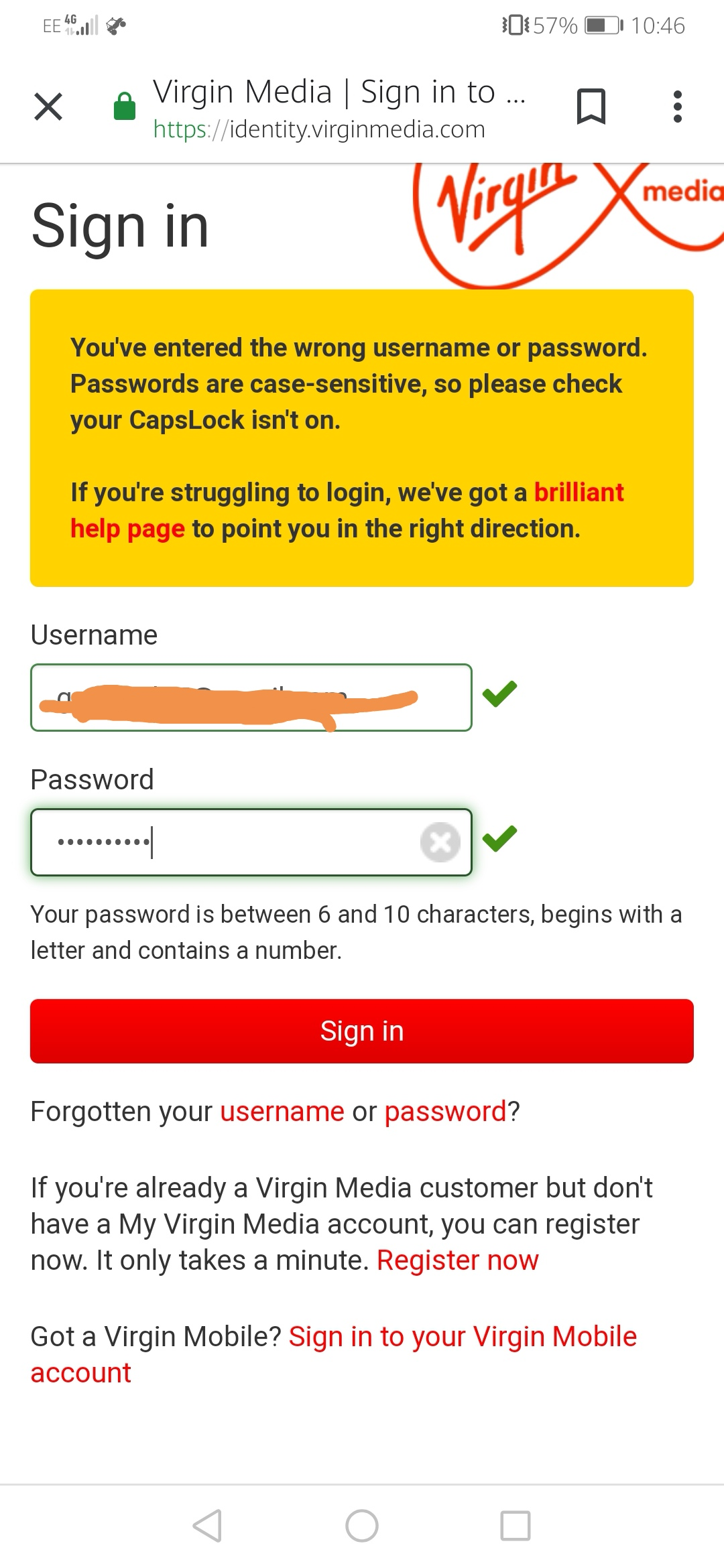 Can't sign in to my Virgin Media account - Virgin Media