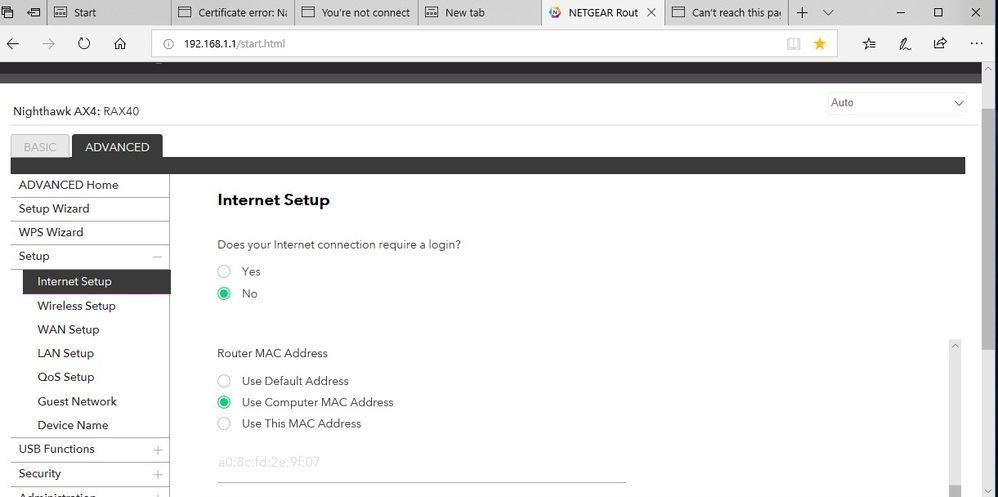 Solved: Netgear RAX40 with Virgin Media Hub 1 0 - No inter