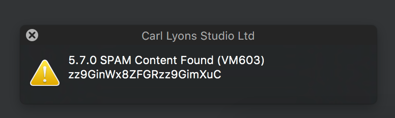 Carl Lyons Studio SPAM Error Message.png