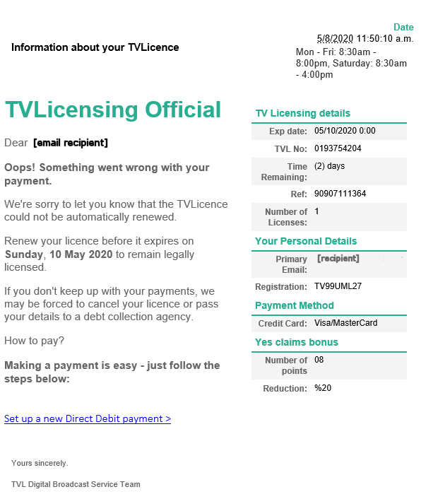 TV Licensing phishing trip