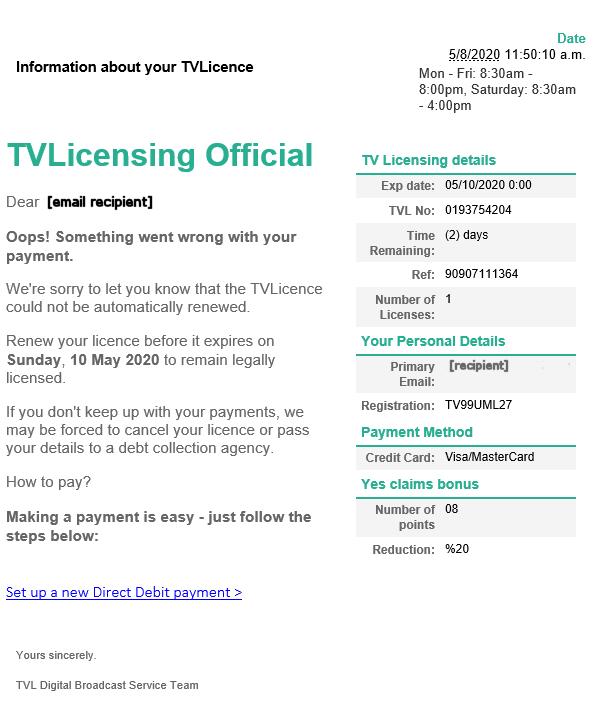 TV Licensing phishing trip