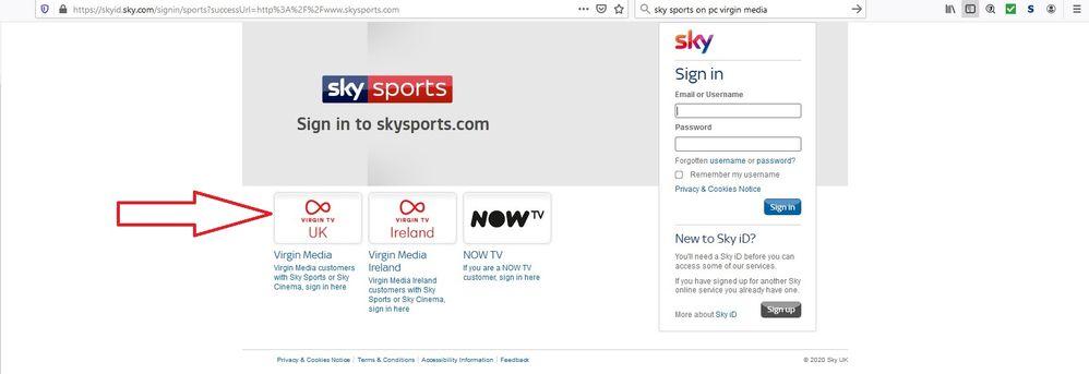 Sky Sports website login page