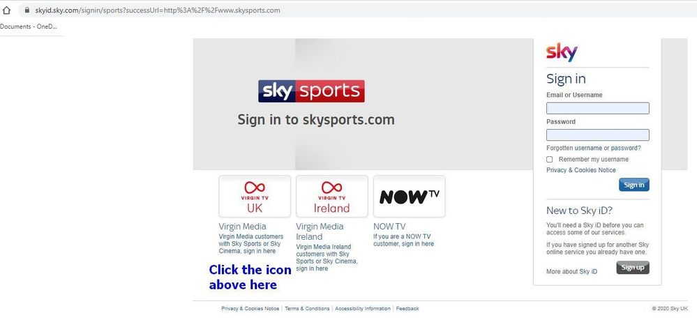 sky sports ios/android app log in
