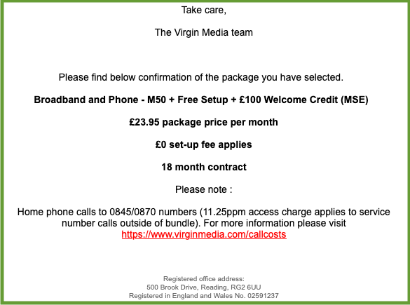 Your Virgin Media Order - Date: 19 May 2020 at 13:32:36 BST