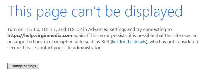 TLS 1.0 1.1 Page Can't be displayed