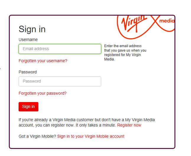 virgin media email login